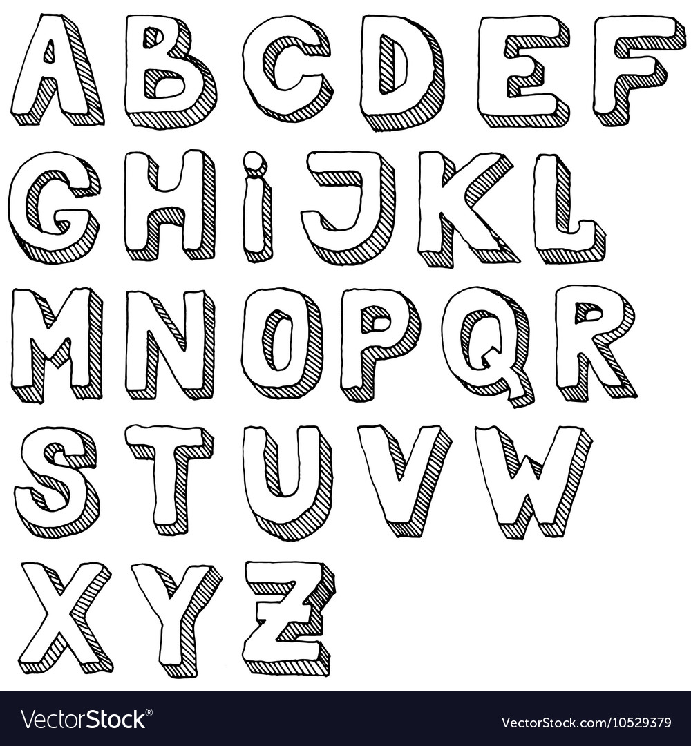 Hand drawn set of ABC letters Free.
