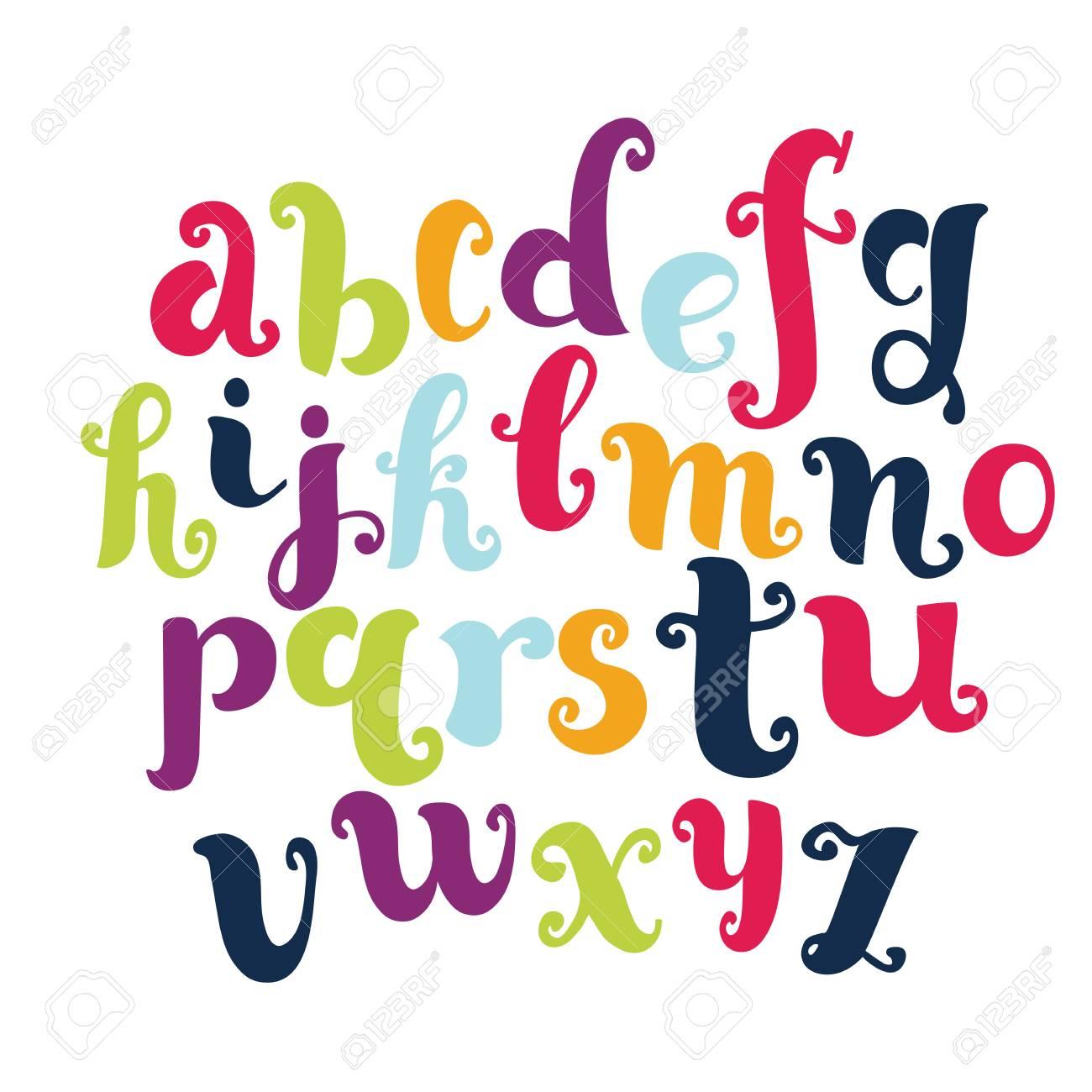 Vector cartoon funny english alphabet. Modern calligraphy font.