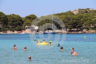 Stone Pyramids On The Beach Of Cape Salines, Mallorca Island Stock.