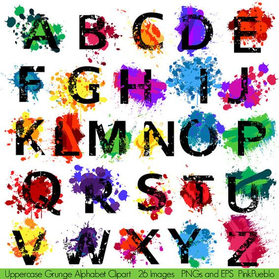 Grunge Alphabet, Font with Graffiti Paint Splatters Letters.