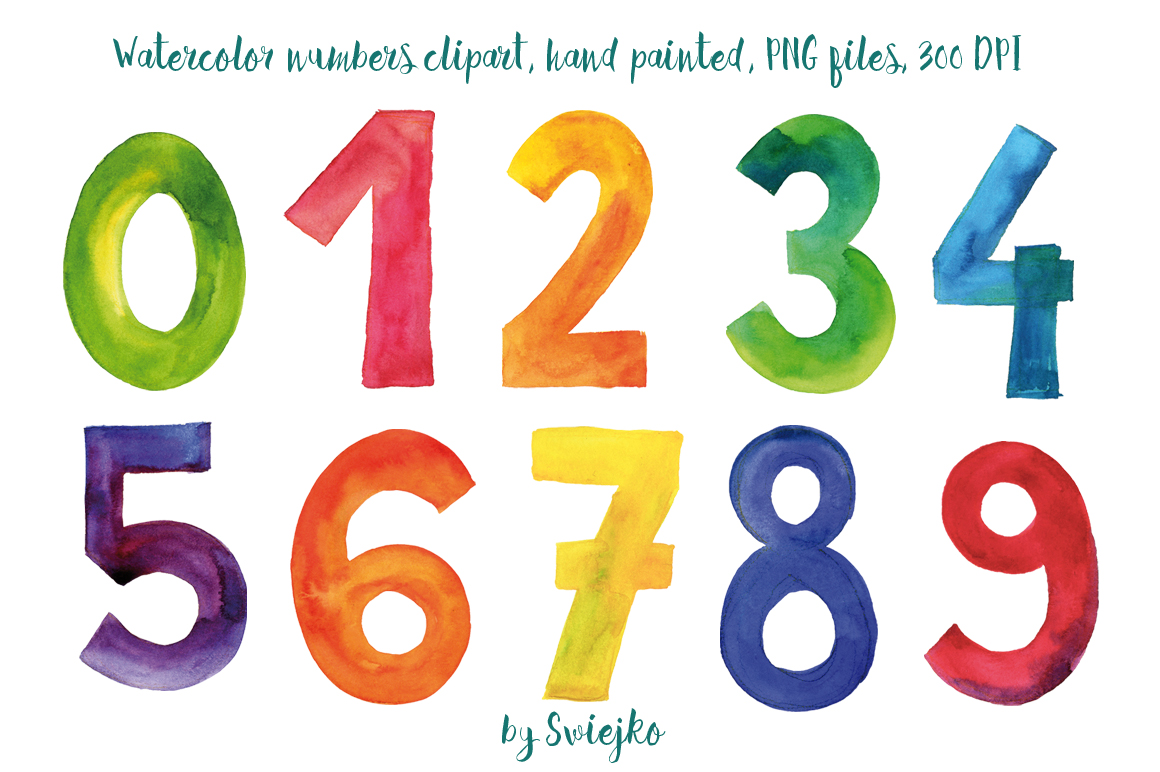 Numbers, watercolor clipart, colorful letters, hand painted, 123.