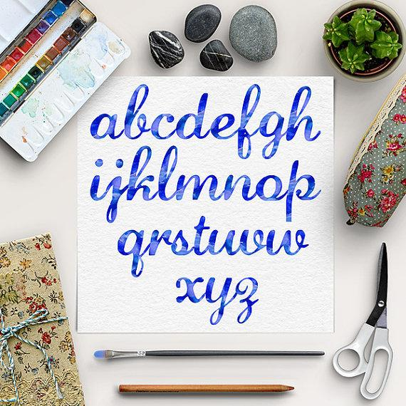 BUY5FOR8, Watercolor Alphabet, Blue Font Clip Art, Hand Paint.