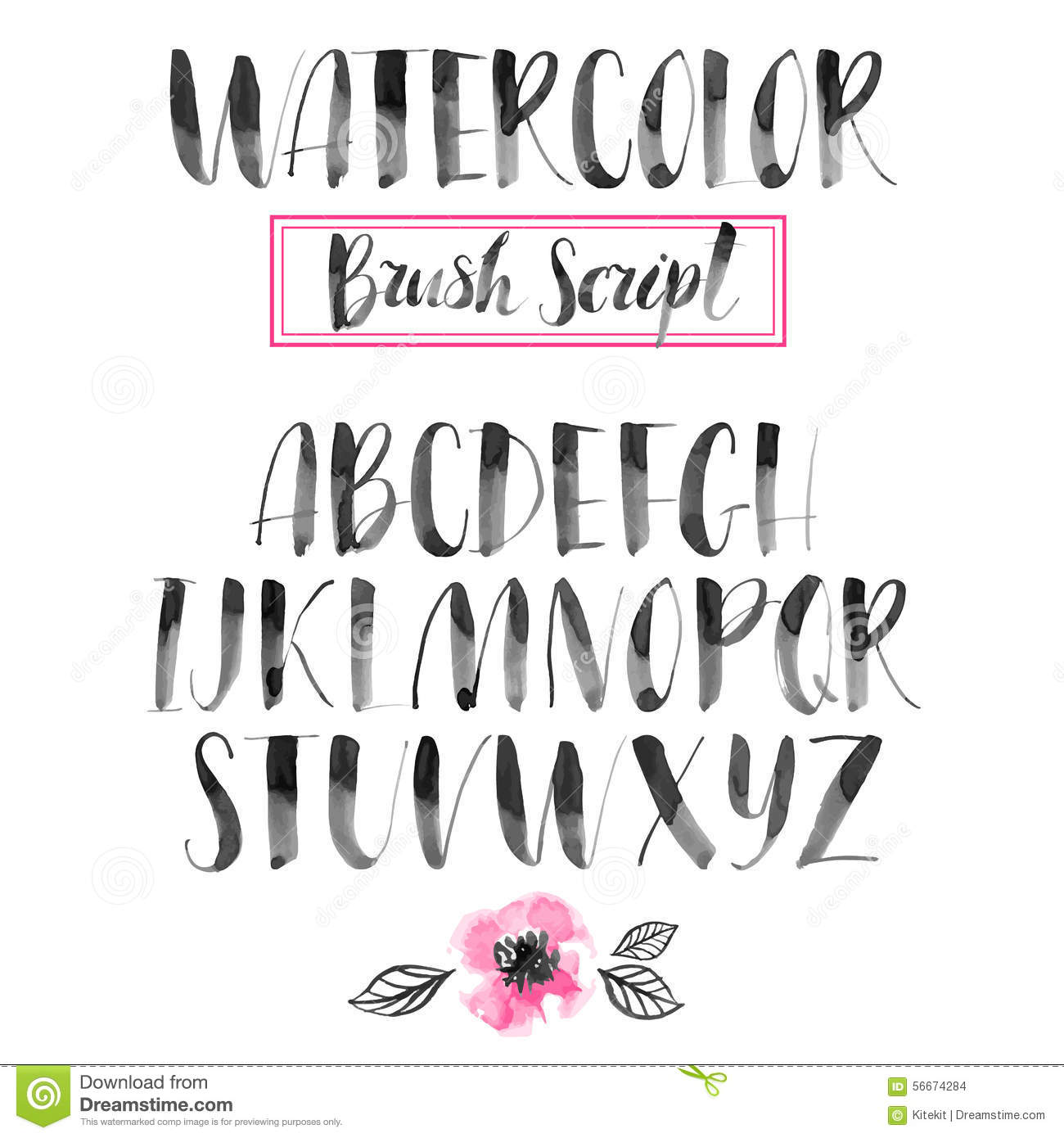 Handwritten Watercolor Calligraphic Font. Modern Brush Lettering.