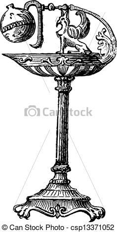 Clipart Vector of Bronze Oil Lamp by Percier et Fontaine, vintage.