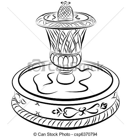 Vecteur EPS de eau, Victorien, fontaine, ligne, dessin.