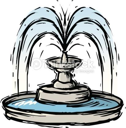 Decorative Fountain Color Vector Art.
