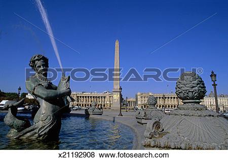 Pictures of France, Paris, Place de la Concorde, Fontaine des Mers.