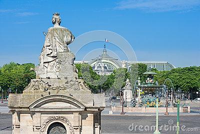 Fontaine Des Mers On The Place De La Concorde Stock Photo.