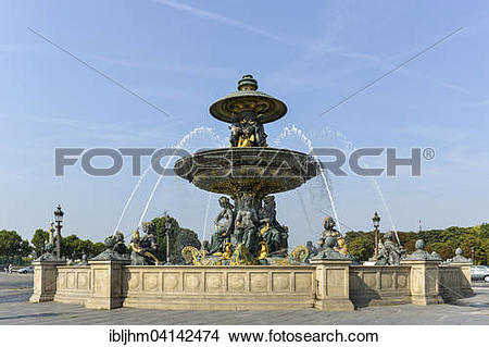 Stock Photo of Fontaine des Fleuves, Fountain of the Rivers, Place.
