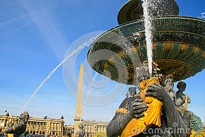 Fontaine Des Mers At Place De La Concorde In Paris Royalty Free.