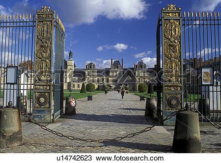 Stock Photo of chateau, France, Fontainebleau, castle, Ile de.