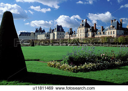 Stock Photograph of France, Fontainebleau, chateau, Seine.