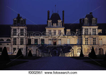 Stock Photography of night, castle, yard, Cour des Adieux, Castle.