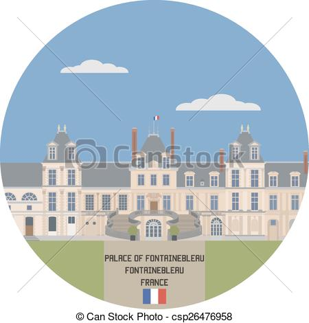 Clipart Vector of Palace of Fontainebleau. France famouse place.