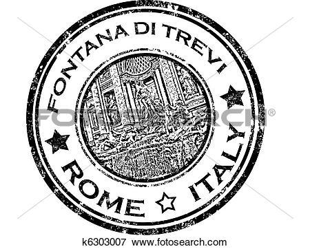 Clip Art of Fontana di trevi stamp k6303007.