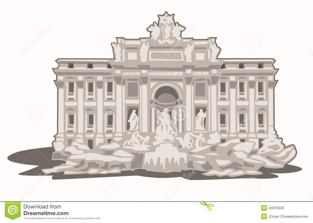 Fontana Di Trevi Stock Vector.