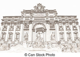 Trevi fountain Stock Illustrations. 23 Trevi fountain clip art.