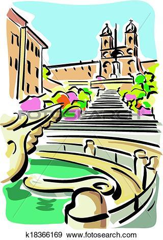 Clip Art of Rome (Piazza di Spagna) k18366169.