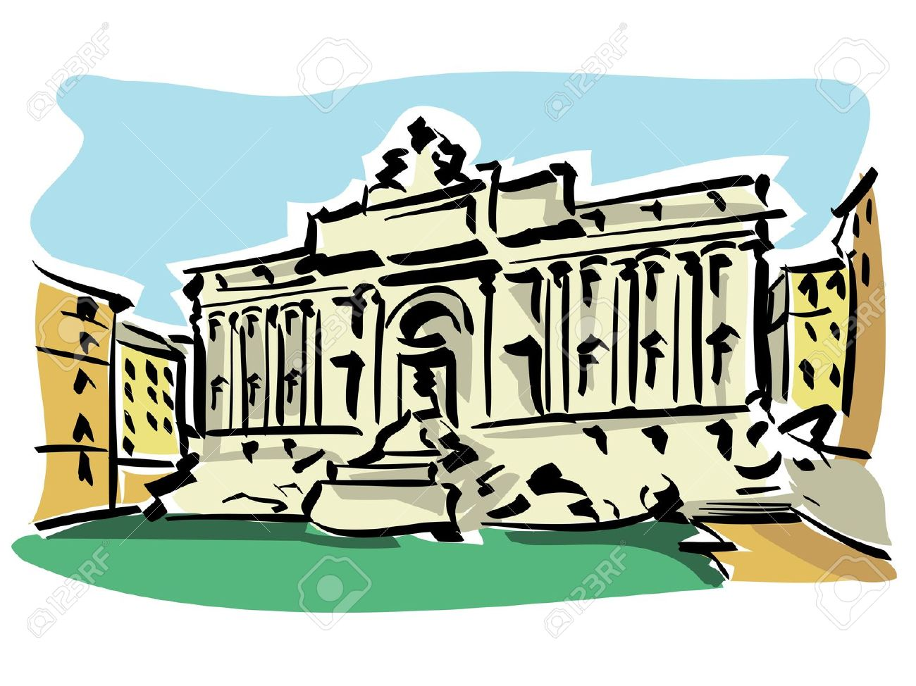 Trevi fountain clipart.