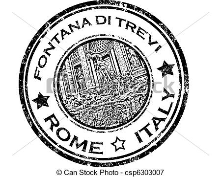Vectors Illustration of Fontana di trevi stamp.