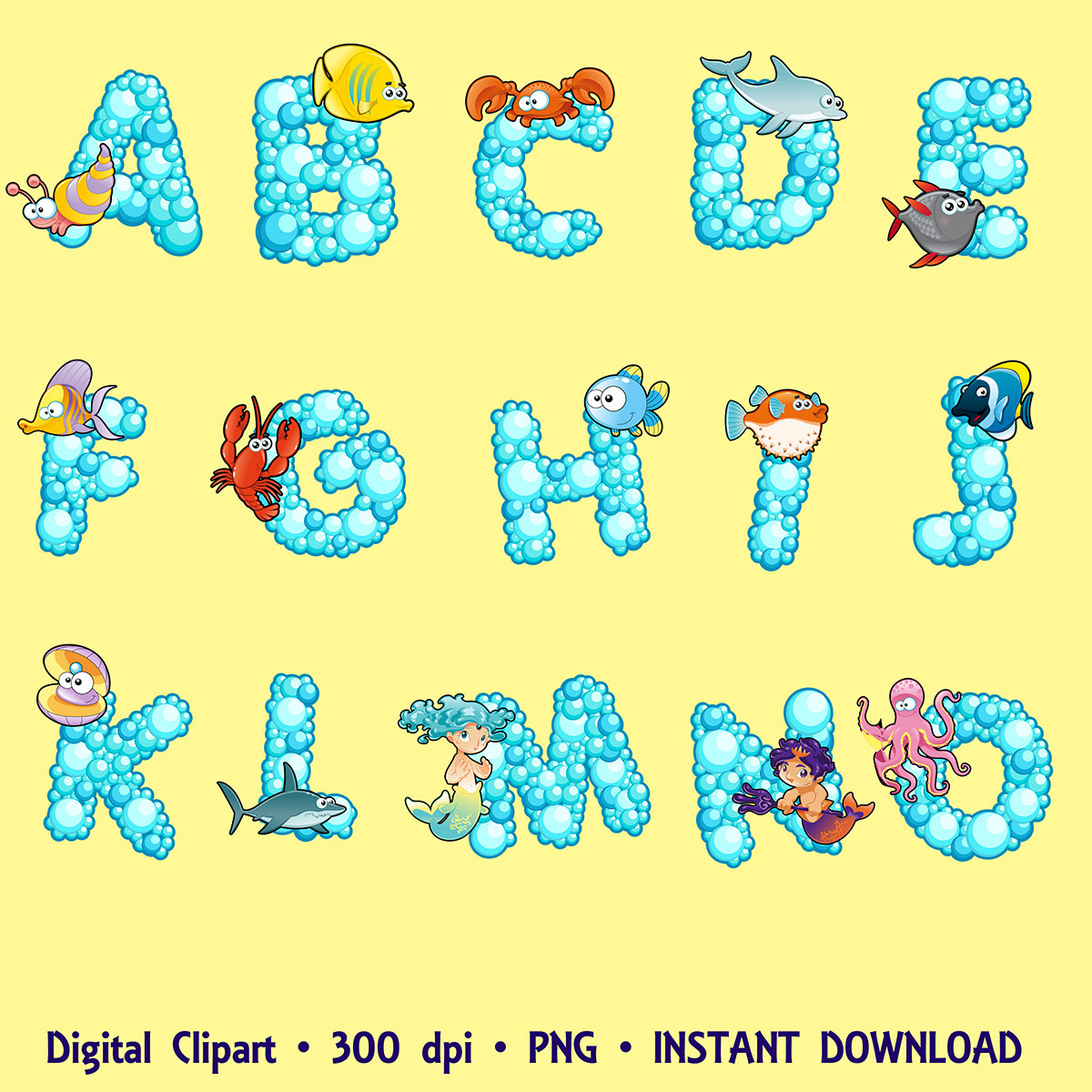 Alphabet Digital Clipart Fonts ABC Images Bubbles Sea Animals.