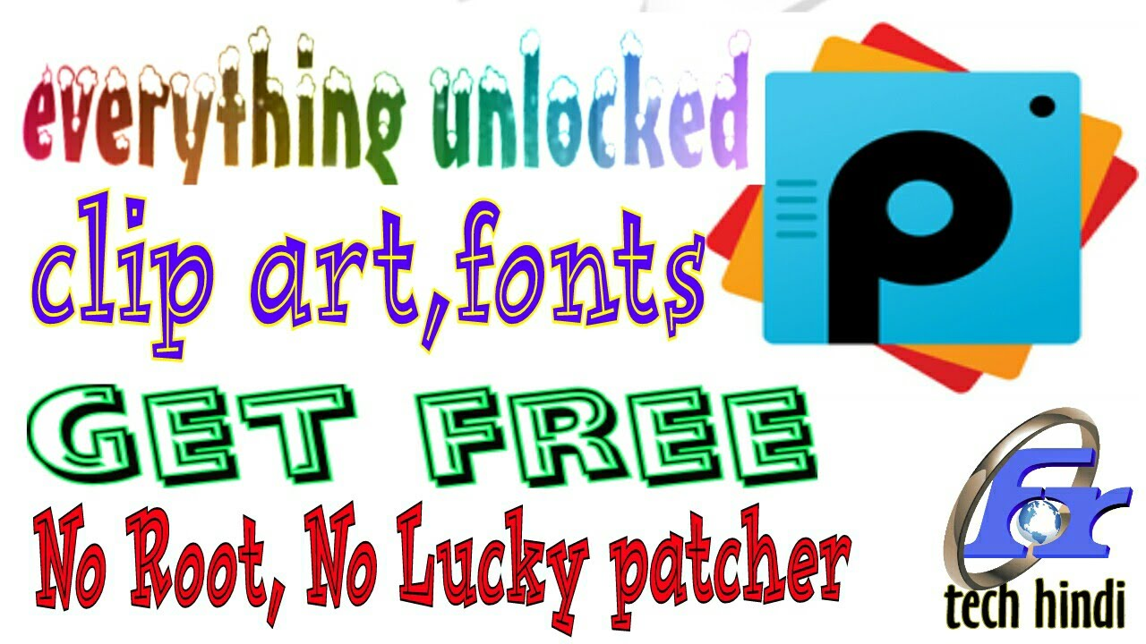 PicsArt Unlocked Everything Free clip art & fonts.