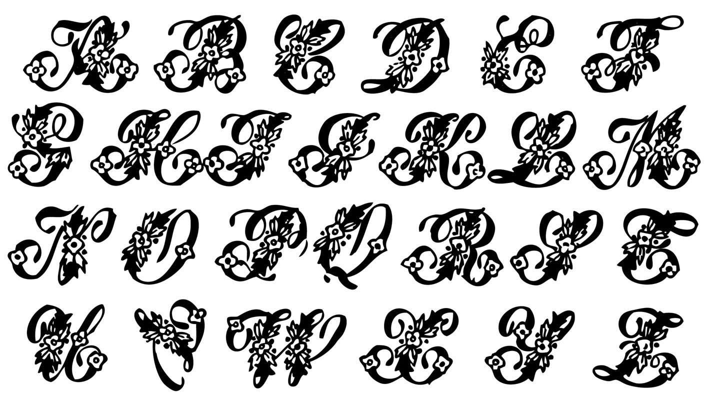 Monogram Fonts Alphabet Clipart.