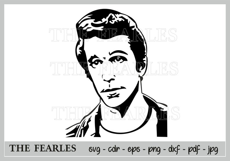 THE FONZ clip ART, Fonzie clip art formats svg, JPG, PNG, CDR, PDF, EPS,  DXF. Digital file, silhouette, cut file, Hollywood silhouette.