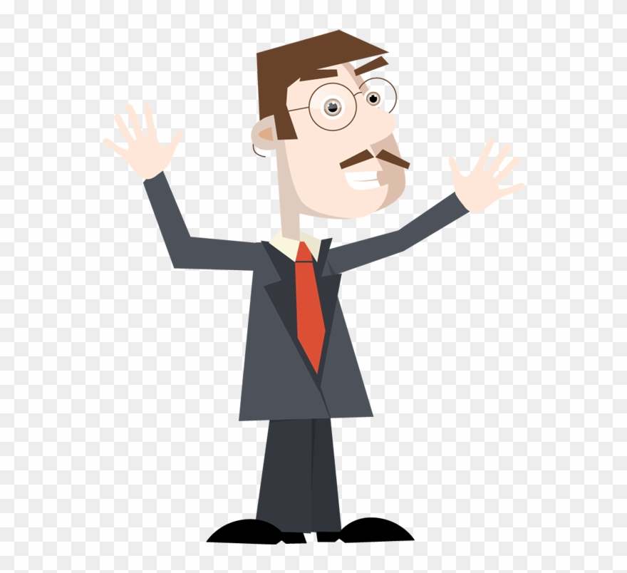 Businessman Excited With Hands Up.