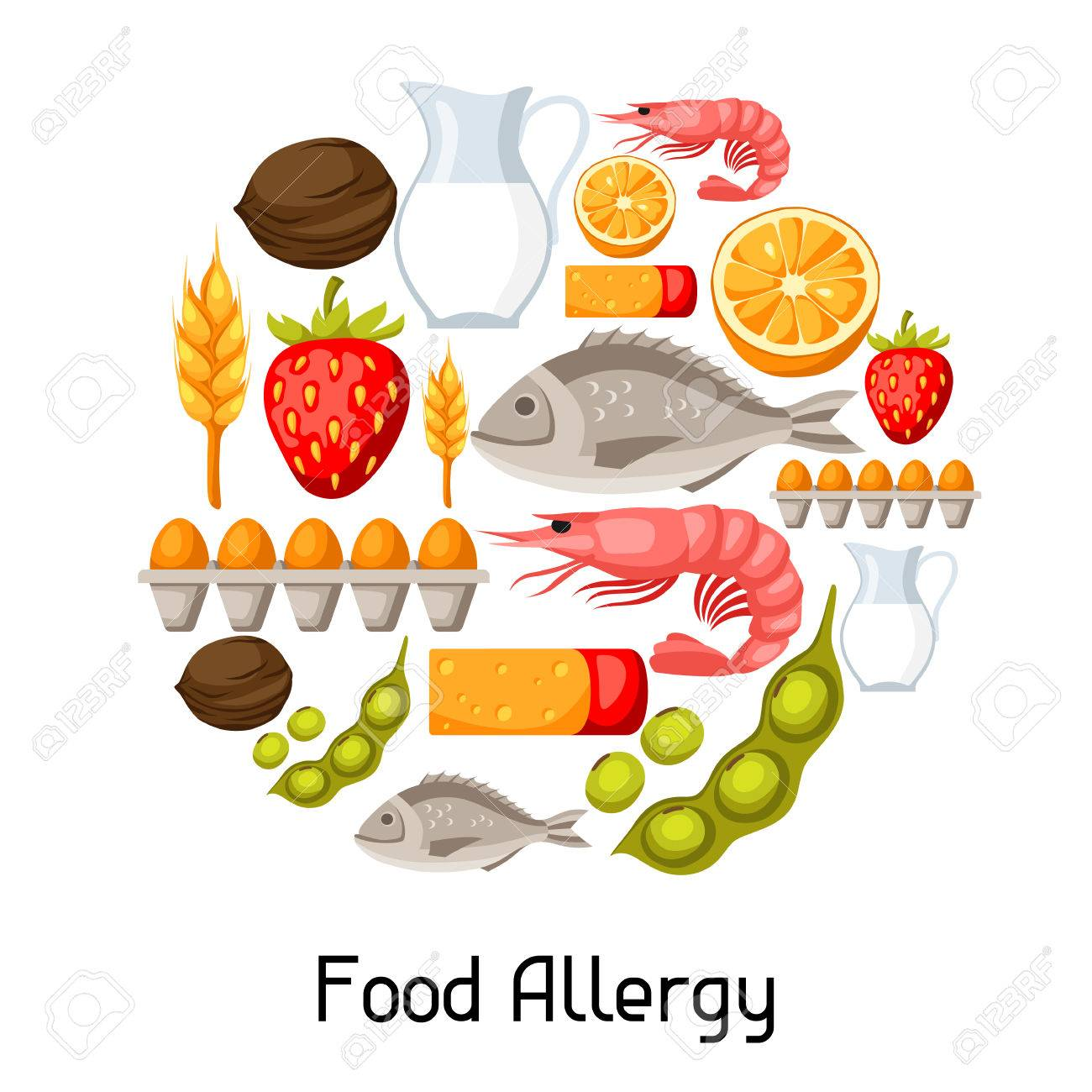 Food allergy background with allergens and symbols..