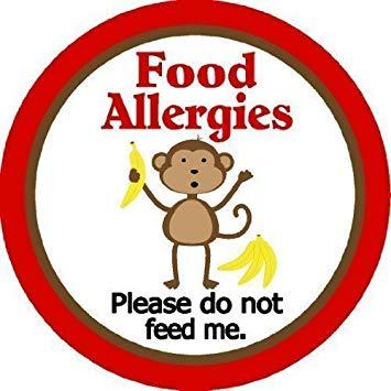 Child Food Allergy Warning Sticker.