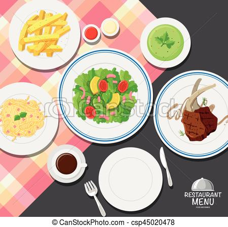 Different types of food on dining table.