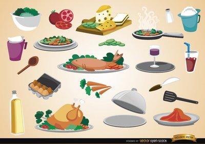 Free Food, drinks, ingredients and kitchen utensils Clipart and.