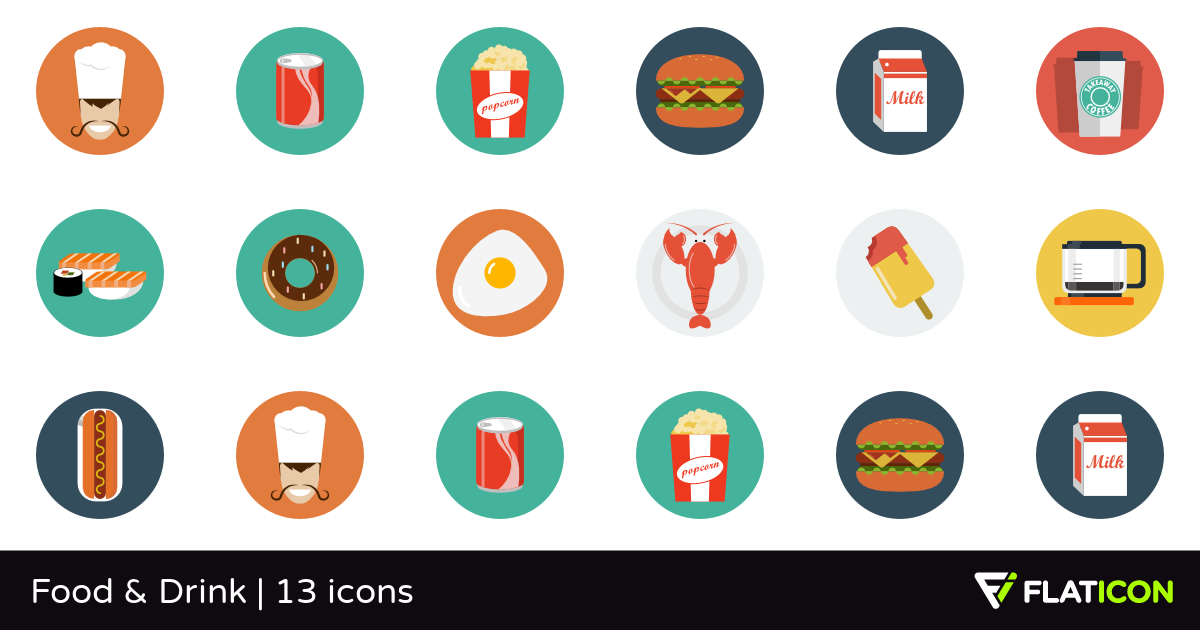 Food & Drink 13 free icons (SVG, EPS, PSD, PNG files).