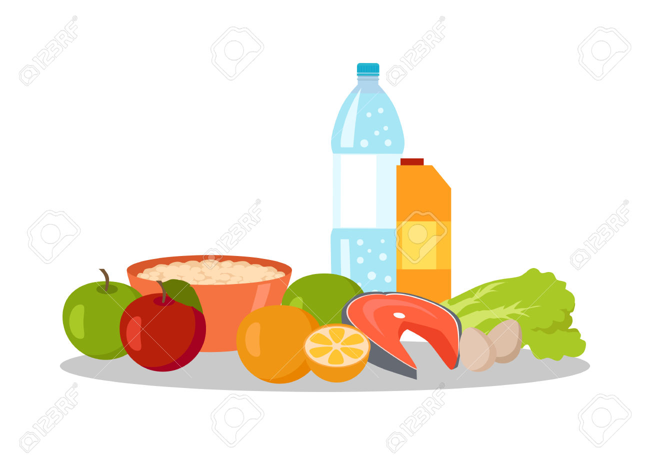 Healthy Food And Water Clipart.