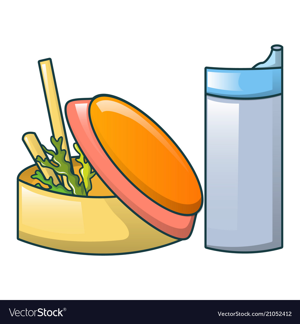 Food and water bottle icon cartoon style.