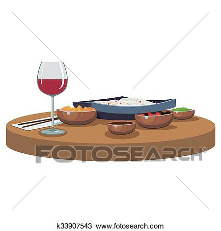 Asian food and wine Clipart.