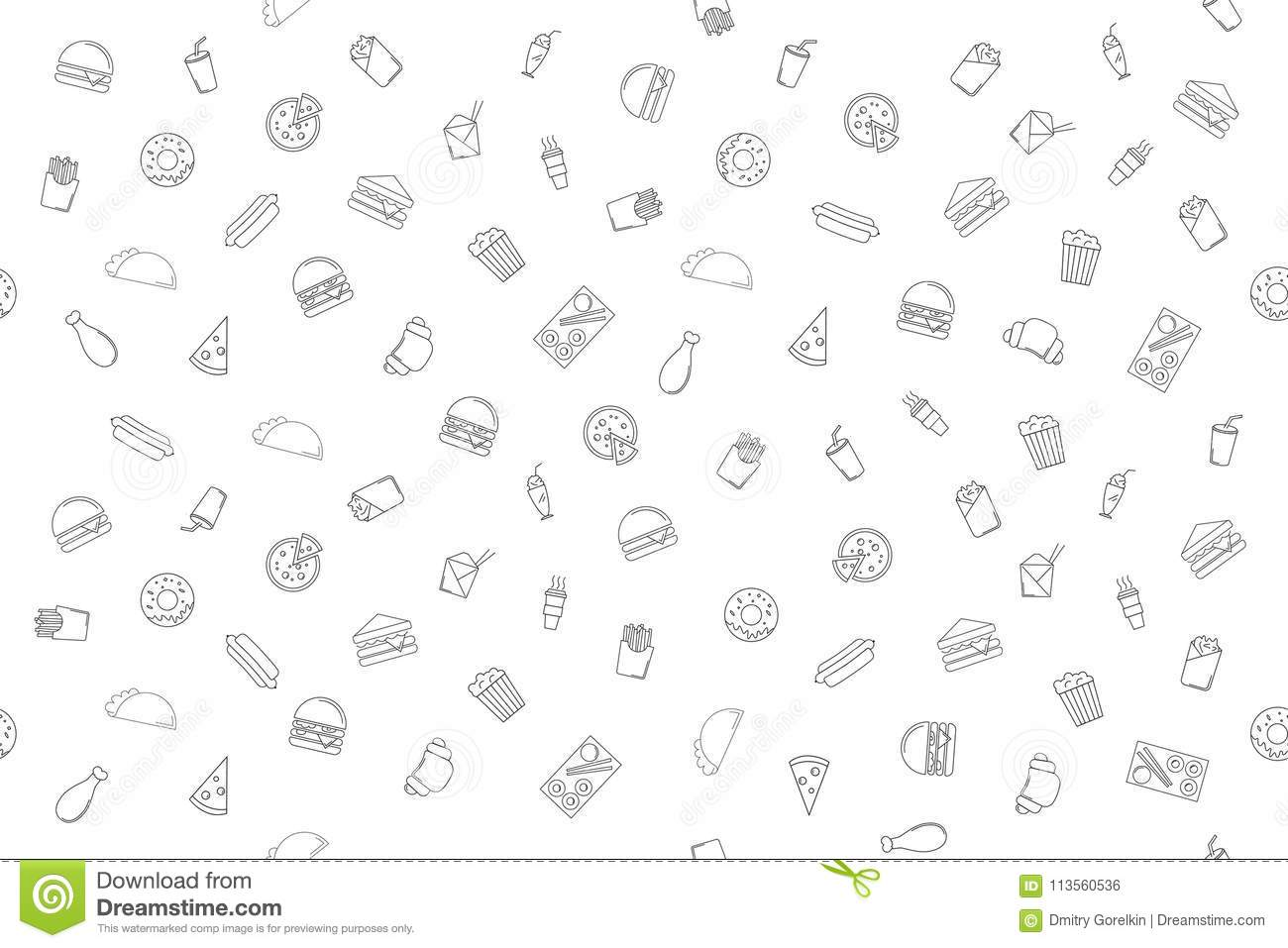 Vector Fast food pattern. stock vector. Illustration of design.