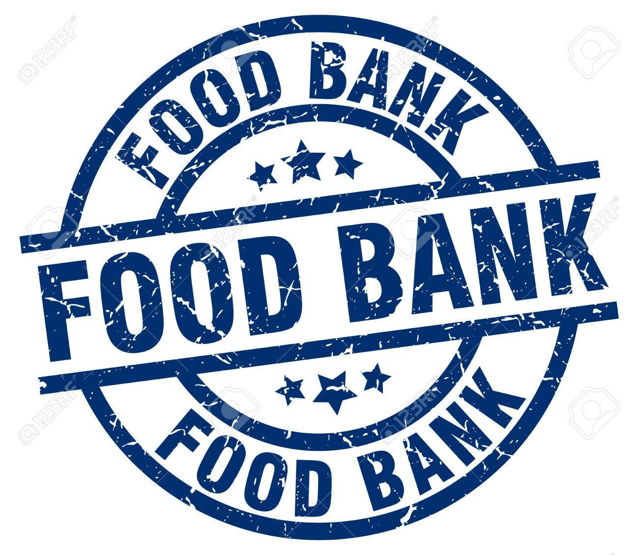 food bank blue round grunge stamp.