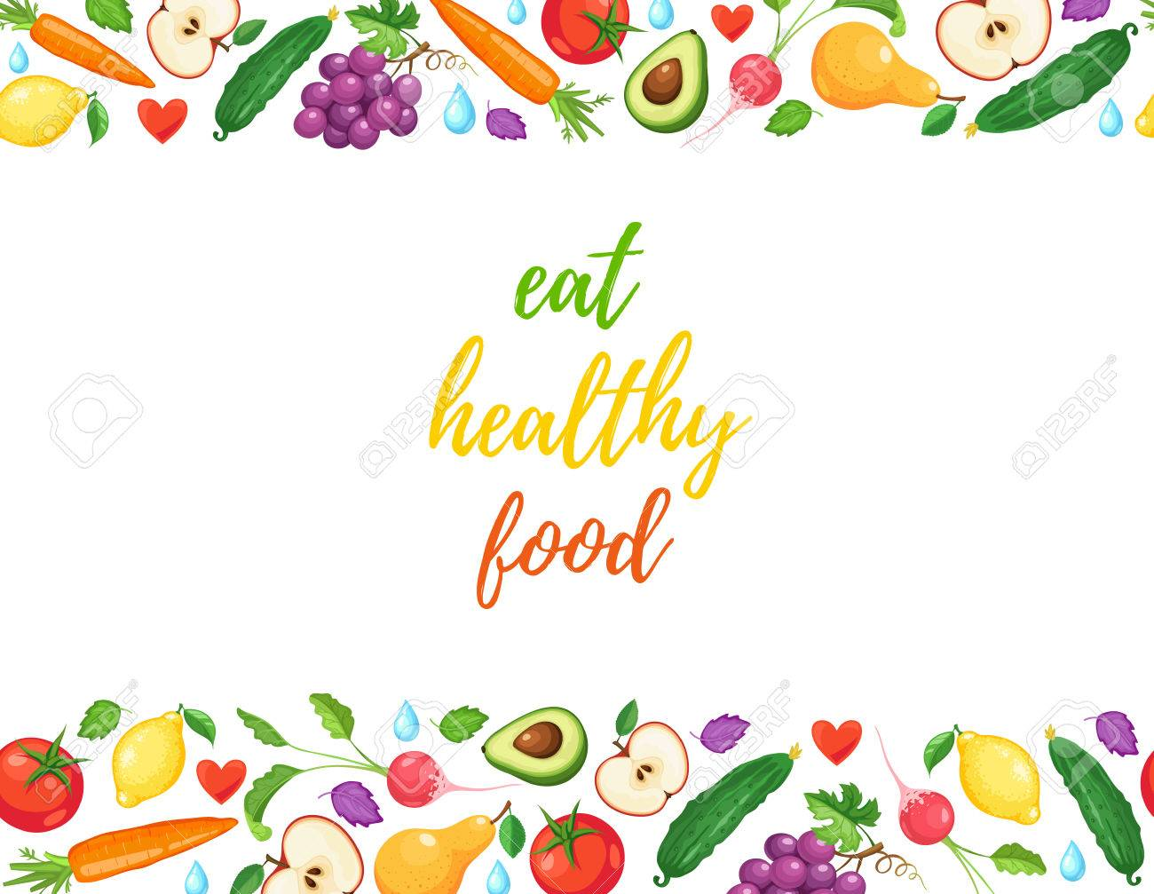 Eat healthy food banner with fresh fruits and vegetables horizontal...