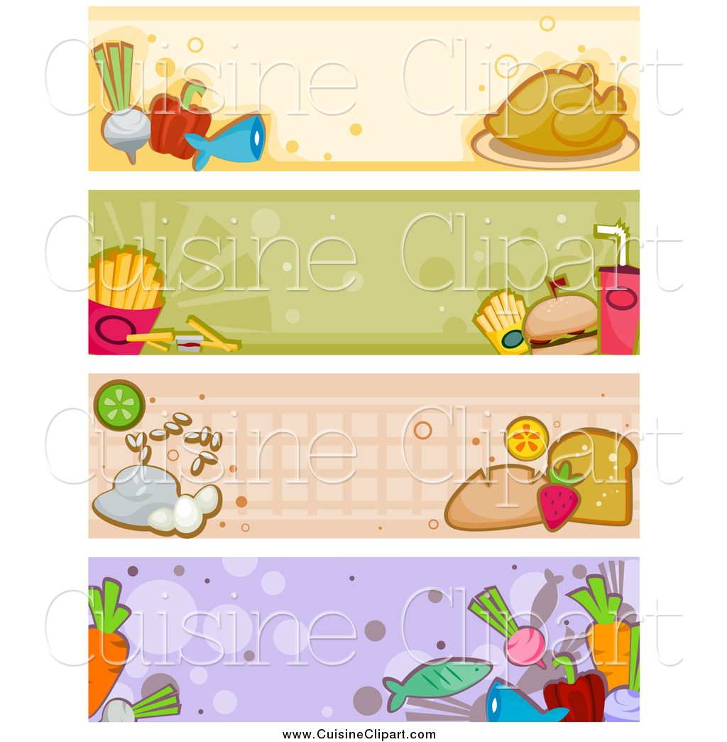 Cuisine Clipart of Four Food Banners by BNP Design Studio.