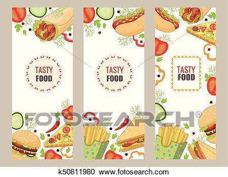 Vector cartoon flat fast food banner template set Clipart.