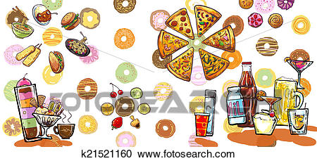 Colorful food banner illustration Clipart.