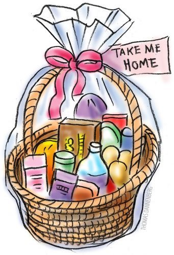 Holiday food baskets clipart.