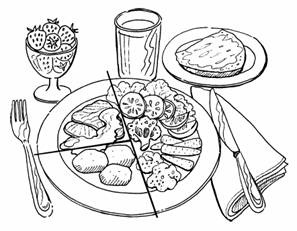 Healthy Food Plate Clipart Black And White.