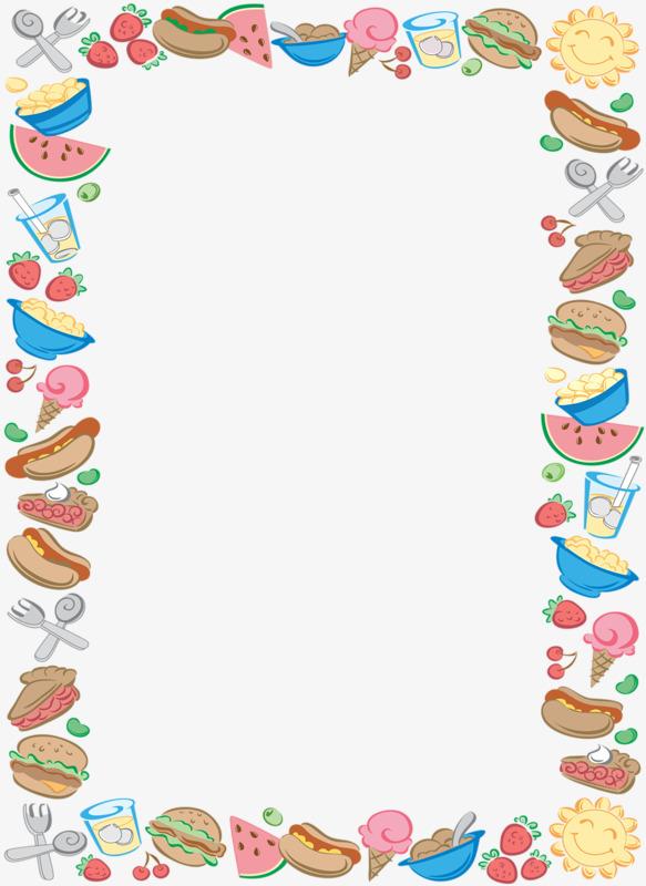 Food Border, Food Clipart, Cartoon Food Border, Bounding Rectangle.