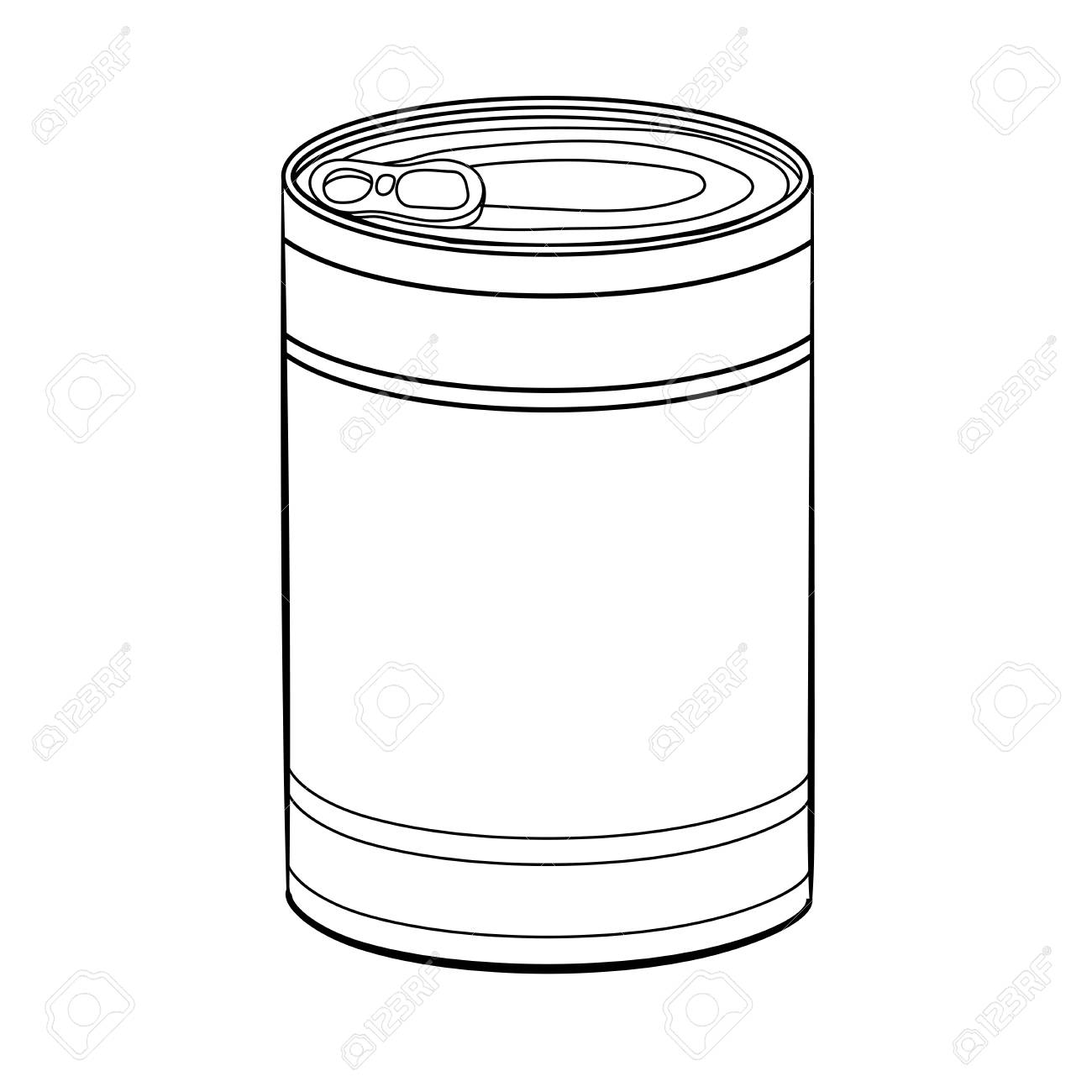 Hand drawn sketch of Food Can isolated, Black and White simple...