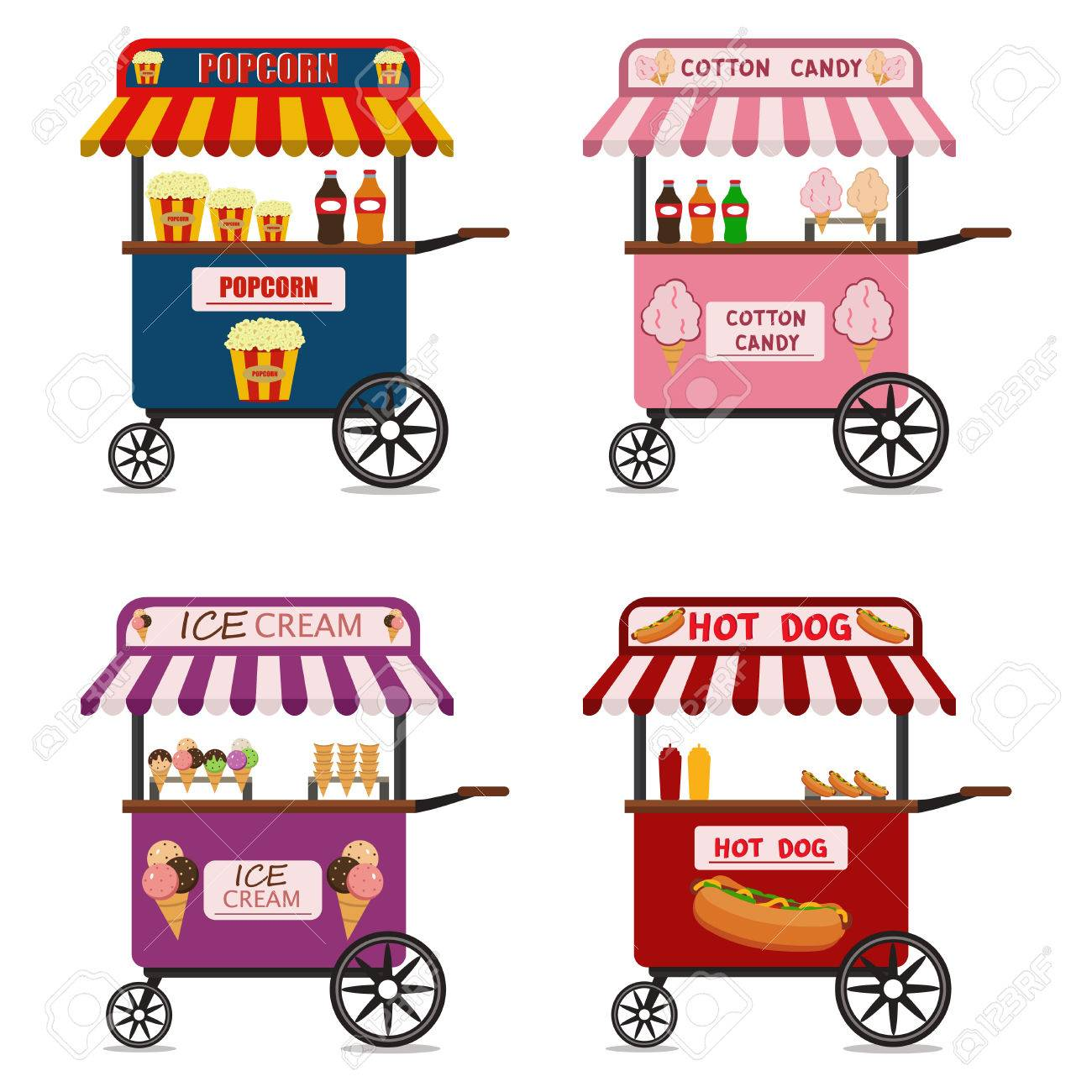 Street food cart vector illustration set.