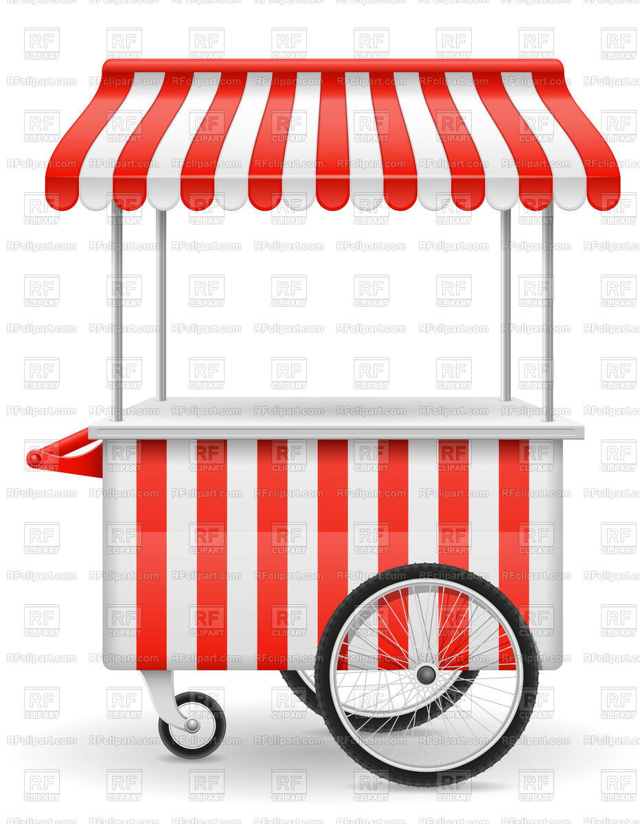 Street food cart with red stripes isolated on white background Stock Vector  Image.