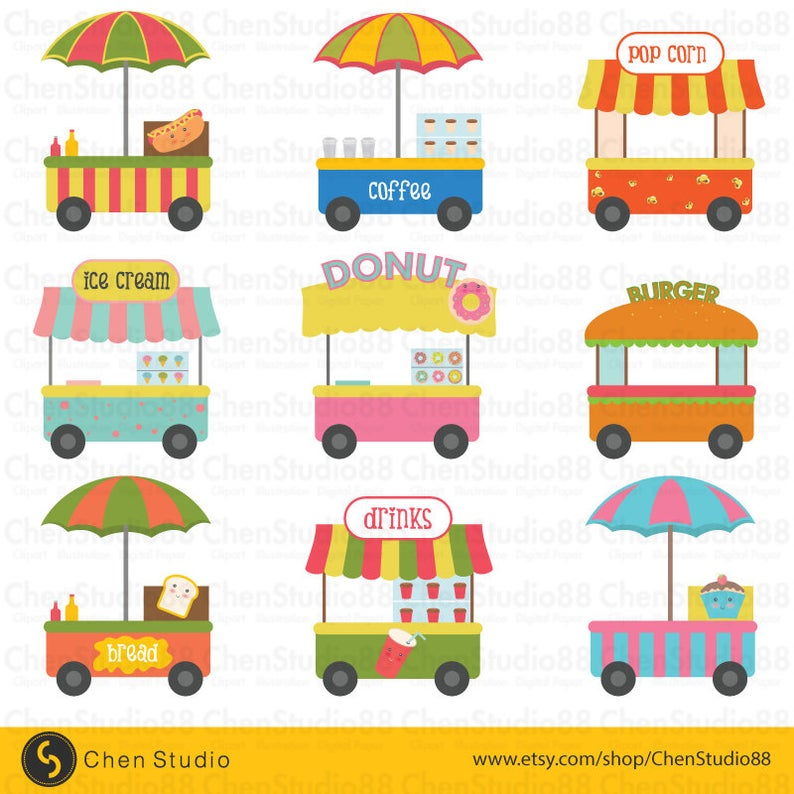 Food cart vector Digital Clipart.